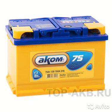 Аккумулятор Аком 75L 700A (276x175x190) 75А/ч Прям